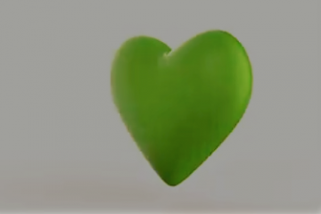Rotating beautiful 3D green heart