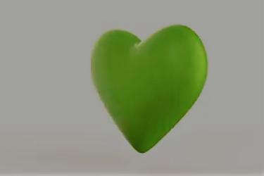 Rotating beautiful 3D green heart