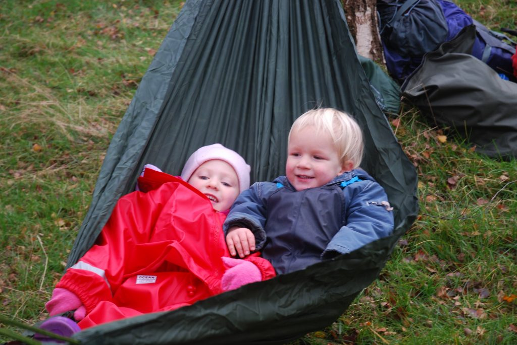 children in hammocks