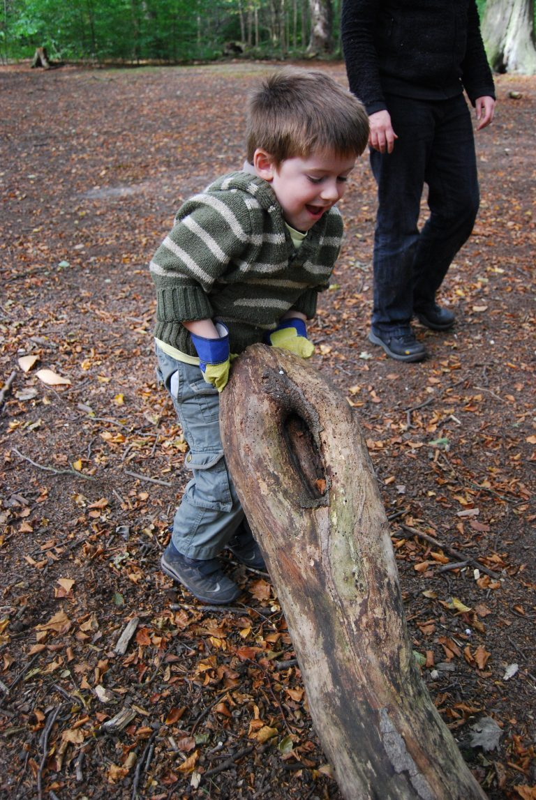Child moving log