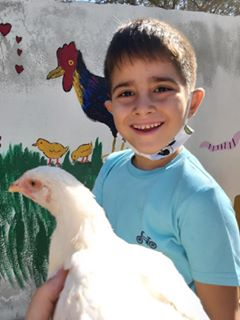 A young child smiling holding a white chicken in his arms
